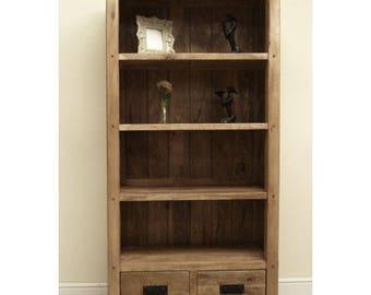Baku mango wood tall 2 drawer bookcase