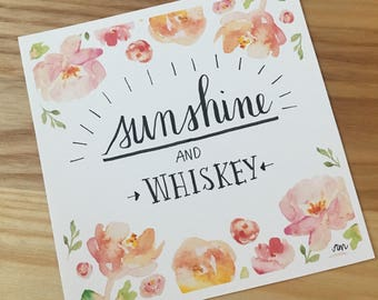 Sunshine and Whiskey - Hand Lettered Drawing
