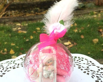 Godfather godmother gift ball dragees figurine-Present for godparents
