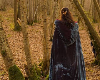Large mixed elven cloak, silk velvet, with hood, cape medieval/fantasy, elven cloak, medieval cloak