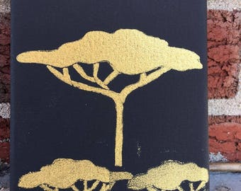 Gold Painted Trees on Black Canvas (5x7)