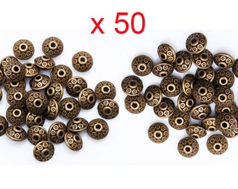 50 beads spacer saucer Antique Bronze necklace pendant 6.5 mm