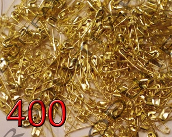 Lot of 400 Mini pins for safety in Metal Golden 19 x 5 mm.