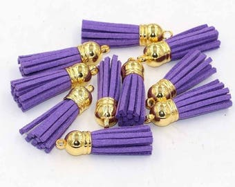 Purple tassel suedine 38 mm gold