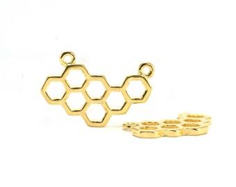 4 hexagon shaped charms - Honeycomb - Sun. : 23 x 15 mm - gold gilt