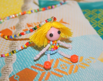 Children necklace small doll made of seed beads