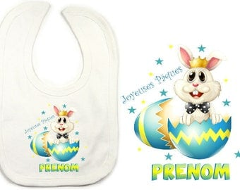 "White bib personalized with the name David desired ""PRINCE of Easter"""