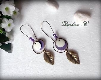 ♥♥ ♥♥ BRONZE EARRINGS lilac and purple enamel