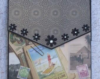 Handmade 7 x 7 inch mini album, envelope style album, travel theme album