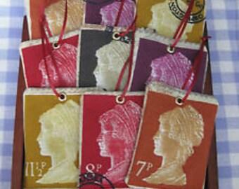 Vintage Style Postage Stamp Lavender Bag