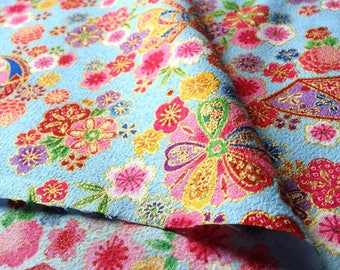 Japanese fabric, flowers, background light blue, cotton 110 x 50 (227A)