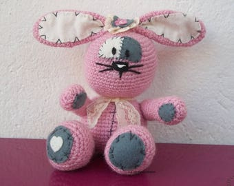 Pink wool and felt Bunny
