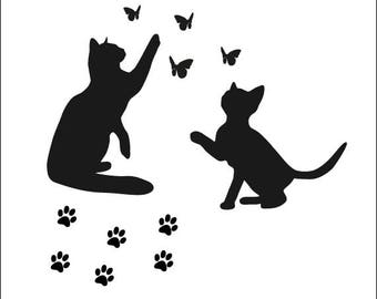 Wall decals silhouette cats for a decoration original and unique to your home.