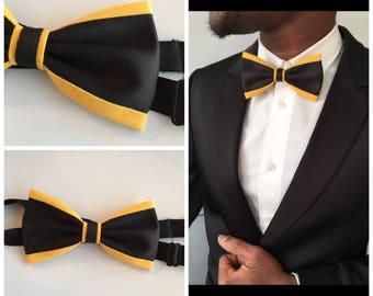 Bow tie black-yellow man