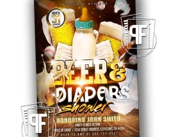 Beer and Diaper Invitation - Beer and Diapers Invitation - Beer & Diapers Invitation - Beer and Diaper Baby Shower - Beer and Diaper Party