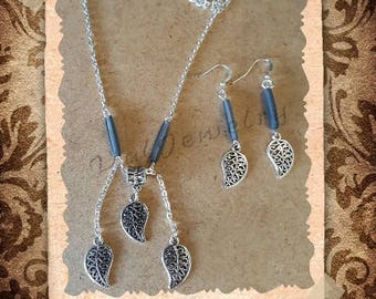 Leaf adornment charms and acrylic bead tube blue