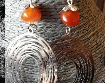 Crochet Oval Filigree and Pearl Earrings in honey amber agate semi precious stone