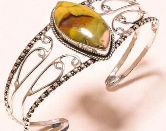Rain forest jasper Cuff Bracelet