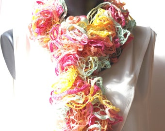 Hand crocheted ruffle scarf in shades of pink, yellow and green it measures 150 cm