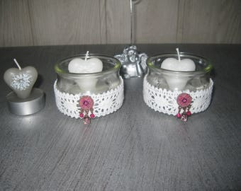Duo Candles/candle holders glass jewelry lace