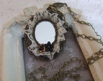 """Reflections of yesteryear"" vintage style mirror necklace bronze oval Locket"