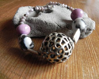 women bracelet large leopard metal ball