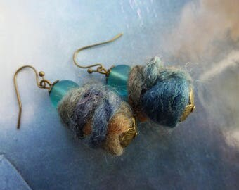 Bohemian ethnic wool and glass blue earrings