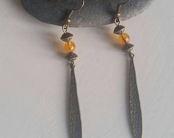 Earrings citrine (6 mm beads)
