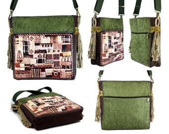Bohemian bags, Vegan purses, Green cross body bag, Hobo bag, Hippie purse, Handbag, Sac a main, Hippie clothes