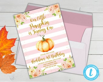 Our Little Pumpkin is Turning One, Pink Pumpkin First Birthday Invitation, Fall First Birthday Invite, Fall Watercolor Birthday Invitation