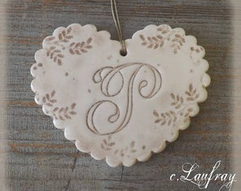 (Size L) ceramic heart, shabby chic style, wavy, footprints laces and letter 'P'