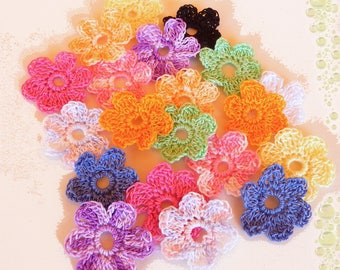 set of 20 handmade multicolor crochet flowers