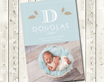 Birth Announcement, Baby Announcement, Digital Download