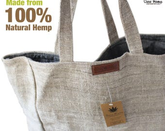 Large Hemp tote bag/Tote bag /Shopping bag/Shoulder bag/ Ready to ship