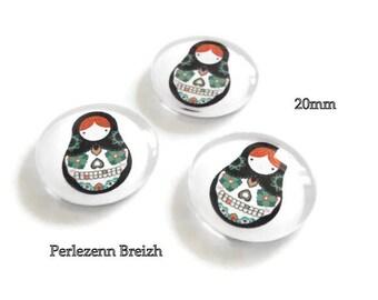 Set of 10 illustrated glass nesting doll matryoshka 20 mm round cabochons