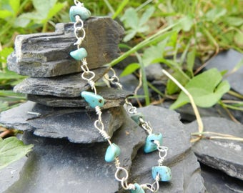 """Bracelet """"Amel"""" natural turquoise and silver mesh"""