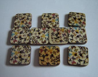 10 BUTTONS WOODEN BUTTERFLY SHAPED SQUARES / / 15 MM / / SET OF 8