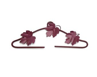 Hanger bracket Burgundy leaves embroidery vine