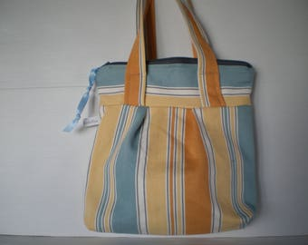 Toiletry bag - Vanity - yellow and blue stripes - waterproof