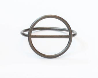 Circle Bar Bangle in Matte Black 3D Printed Steel