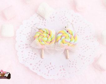Hoop earrings - small multicolored Lowlipop lollipops