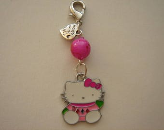 Kitten K pink bow and Pearl charm bag charm, pink mounted on hook