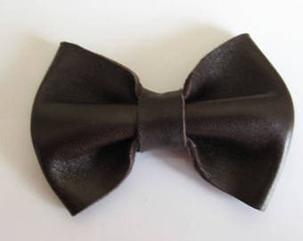 Bow chocolate brown leather 6.5 cm X 5 cm comb hair or deco