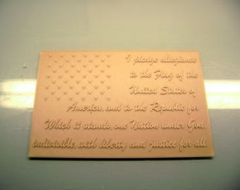 American flag pledge of allegiance 3d wood grain printed