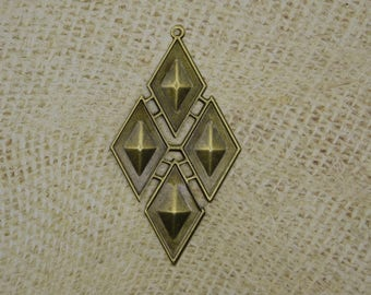 2 pendants bronze metal diamond shaped geometric 83mm