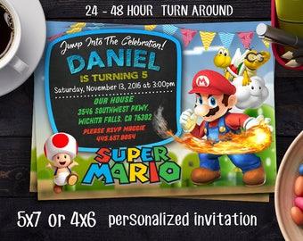 Super Mario Bros Birthday Invitation, SUPER MARIO INVITATION,Super Mario Brother Invitation, Super Mario Brothers Birthday Invitation