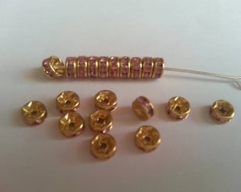spacer rhinestone pink 4mm 20 beads.