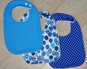 set of 3 matching blue bibs