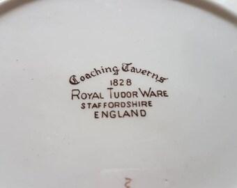 "Coaching Taverns 1828 ""Royal Tudor Ware"" Staffordshire England Small Plate!"