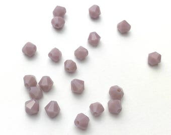 20 beads bicone faceted matte purple glass - size 4mm